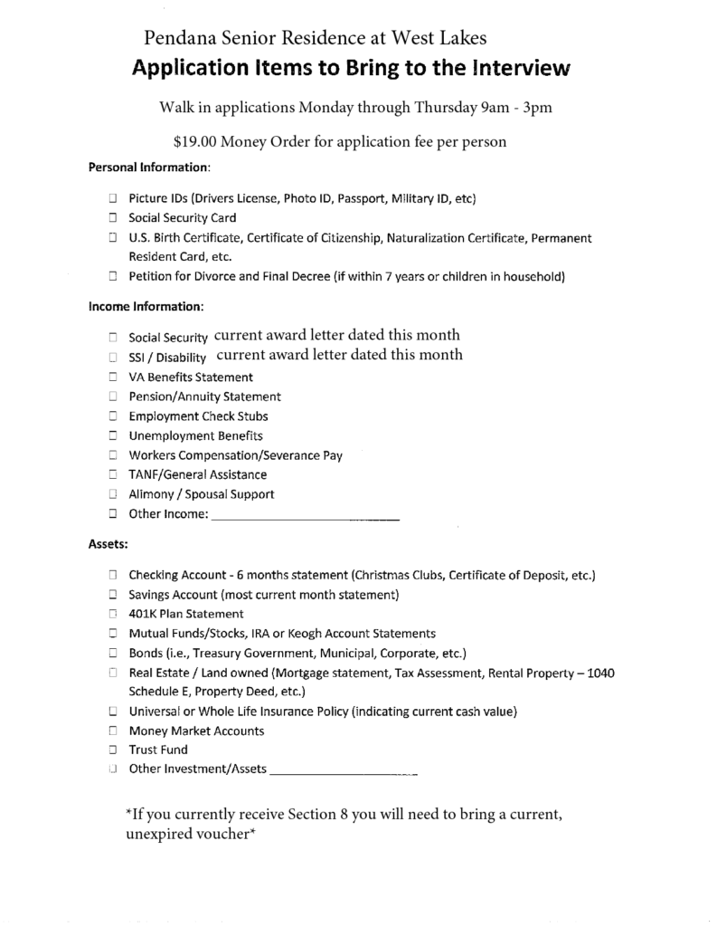 pre-application checklist - Pendana Senior Residences at West Lakes in Orlando Florida